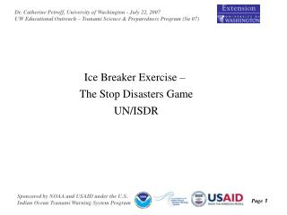Ice Breaker Exercise –  The Stop Disasters Game UN/ISDR