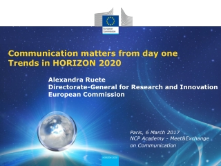 Communication matters from day one Trends in HORIZON 2020