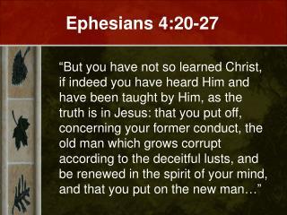 Ephesians 4:20-27