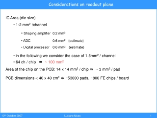 Considerations on readout plane