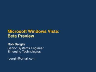 Microsoft Windows Vista: Beta Preview