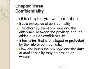 Chapter Three Confidentiality