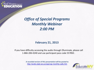 Special Education Director Call April 2012