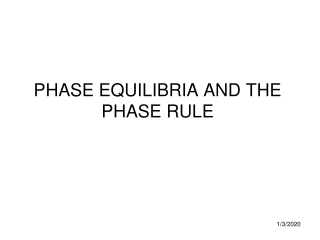 PHASE EQUILIBRIA AND THE PHASE RULE