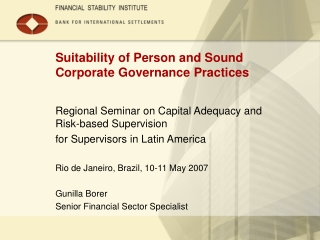 Suitability of Person and Sound Corporate Governance Practices
