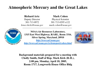 Atmospheric Mercury and the Great Lakes