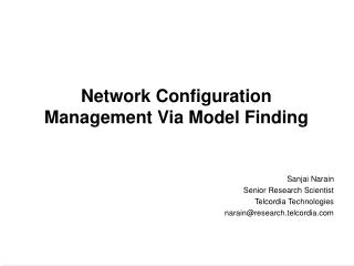 Network Configuration Management Via Model Finding