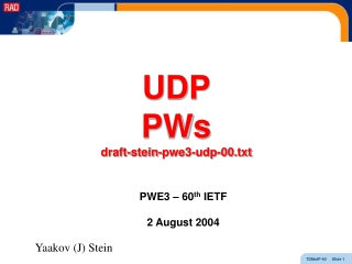 UDP PWs draft-stein-pwe3-udp-00.txt