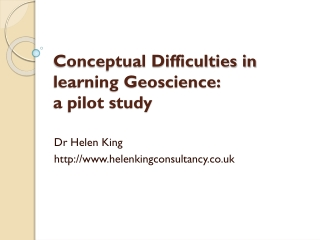 Conceptual Difficulties in learning Geoscience:  a pilot study