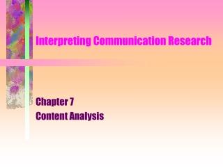 Interpreting Communication Research