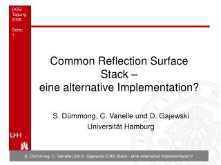 Common Reflection Surface Stack   eine alternative Implementation
