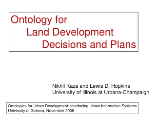 Ontology for  Land Development  Decisions and Plans