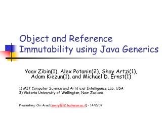 Object and Reference Immutability using Java Generics