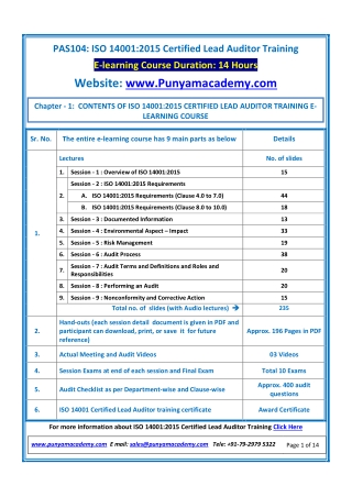 Online ISO 14001 Lead Auditor Training Course by Punyam Academy
