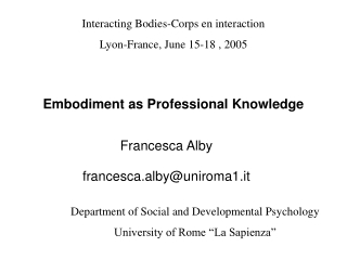 Embodiment as Professional Knowledge