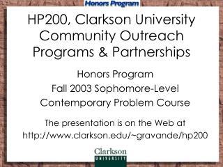 HP200, Clarkson University Community Outreach Programs & Partnerships