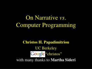 On Narrative  vs . Computer Programming