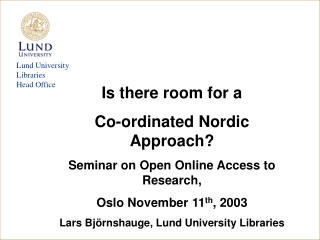 Lund University Libraries Head Office
