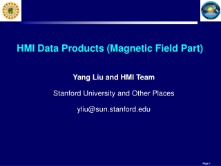HMI Data Products (Magnetic Field Part)