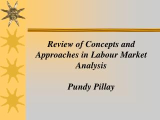 Review of Concepts and Approaches in Labour Market Analysis Pundy Pillay