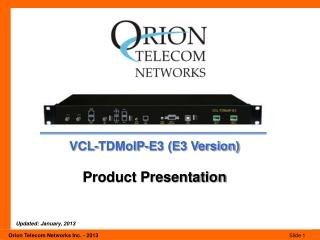 VCL-TDMoIP-E3 (E3 Version) Product Presentation