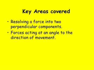 Key Areas covered