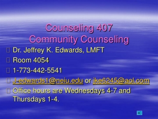 Counseling 407 Community Counseling
