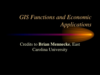 GIS Functions and Economic Applications