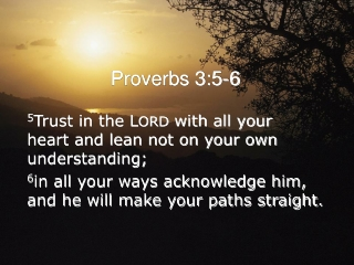 5 Trust in the L ORD  with all your  heart and lean not on your own understanding;