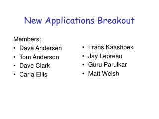New Applications Breakout