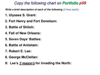 Copy the following chart on  Portfolio  p58