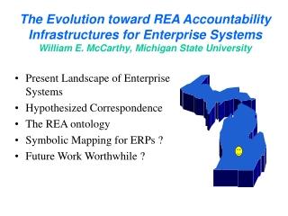 Present Landscape of Enterprise Systems Hypothesized Correspondence The REA ontology