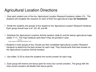 Agricultural Location Directions