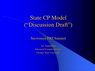 """State CP Model (""""Discussion Draft"""")"""