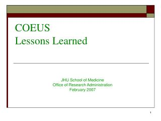 COEUS Lessons Learned