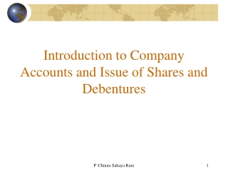 Introduction to Company Accounts and Issue of Shares and Debentures