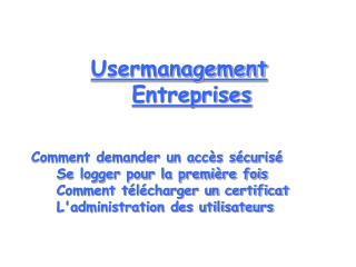 Usermanagement Entreprises