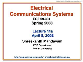 Electrical  Communications Systems ECE.09.331 Spring 2008