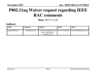 P802.11aq Waiver request regarding IEEE RAC comments
