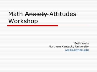 Math Anxiety Attitudes Workshop