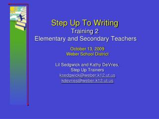 Step Up To Writing Training 2  Elementary and Secondary Teachers