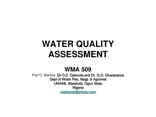 WATER QUALITY ASSESSMENT