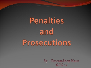 Penalties  and  Prosecutions