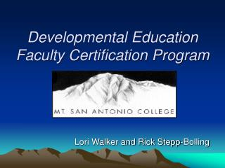 Developmental Education Faculty Certification Program