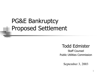 PG&E Bankruptcy Proposed Settlement