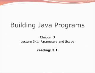 Building Java Programs