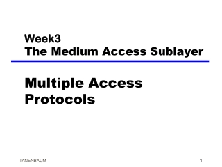 Week3 The Medium Access Sublayer