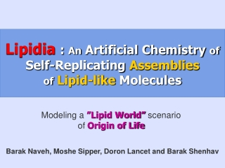 Lipidia  :  An  Artificial Chemistry  of  Self-Replicating  Assemblies of Lipid-like  Molecules
