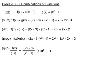 Precalc 3.5 - Combinations of Functions