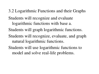 3.2 Logarithmic Functions and their Graphs